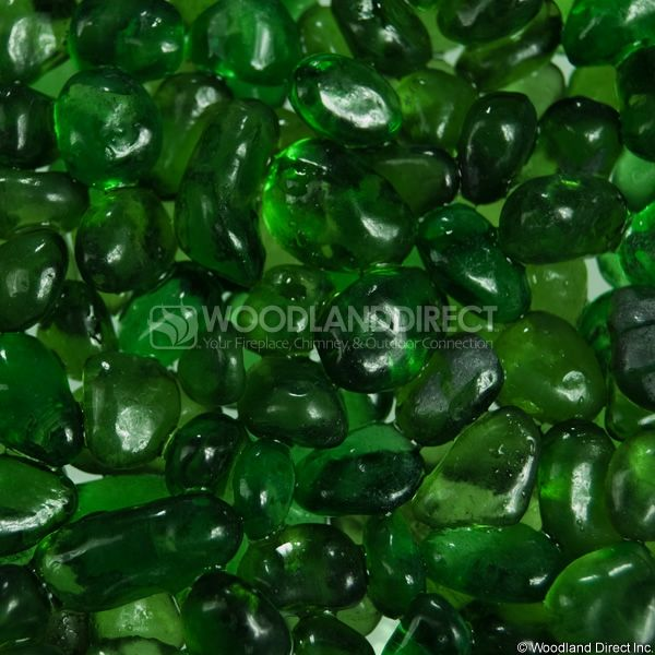 "Krystal Fire 1/2"" Smooth Emerald Fire Glass image number 1"