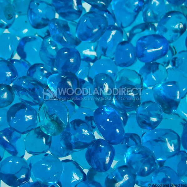 "Krystal Fire 1/4"" Smooth Aqua Blue Fire Glass image number 1"
