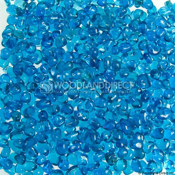 "Krystal Fire 1/4"" Smooth Aqua Blue Fire Glass image number 0"