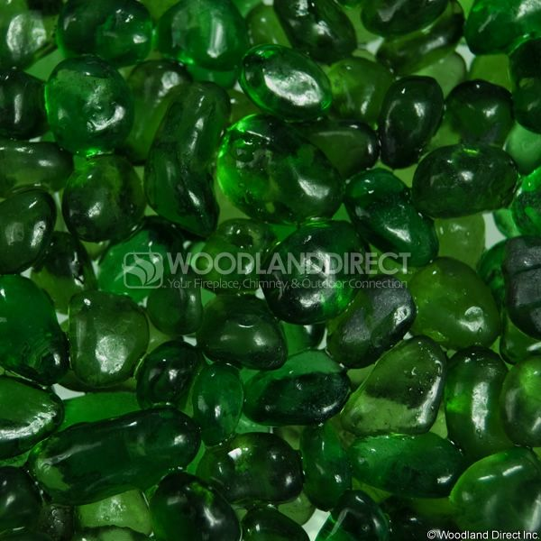 """Krystal Fire 1/4"""" Smooth Emerald Fire Glass image number 1"""