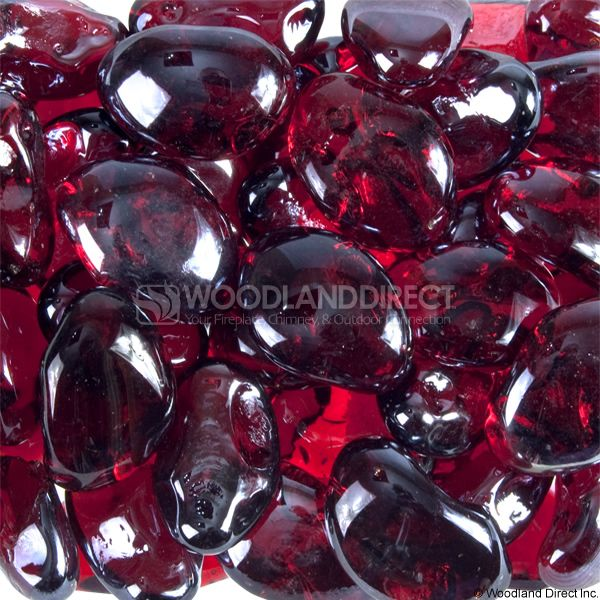 """Krystal Fire 1"""" Smooth Cherry Iridescent Fire Glass image number 0"""