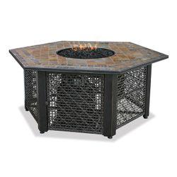 Uniflame Hexagon Propane Fire Pit with Slate Tile Mantel
