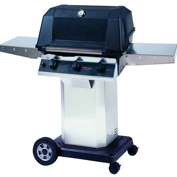 "Heritage WHRG4DD Hybrid Gas Grill - Stainless Steel Column 8"" Wheeled Cart image number 0"