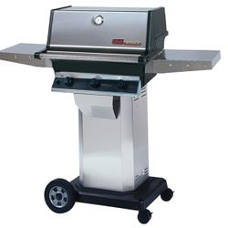 """Heritage THRG2 Hybrid Gas Grill - Stainless Steel Column 8"""" Wheeled Cart"""