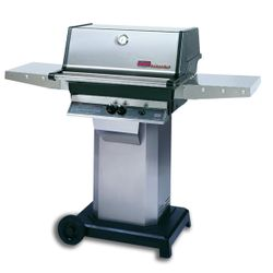 """Heritage TJK Gas Grill - Stainless Steel Column 6"""" Wheeled Cart"""