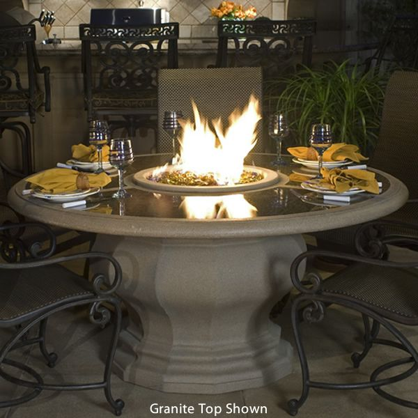 Inverted Dining Gas Fire Pit Table with Concrete Top image number 0