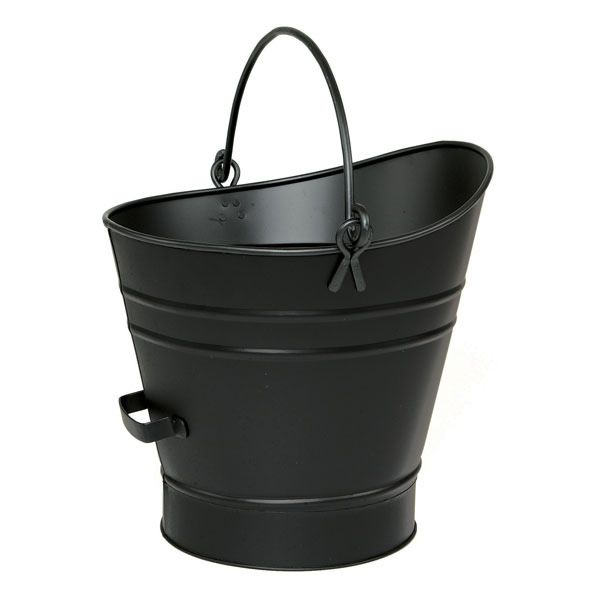 """Iron Coal Hod / Pellet Bucket with Black Finish - 14""""H image number 0"""