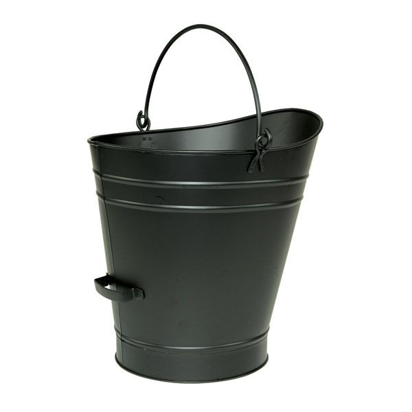 "Iron Coal Hod / Pellet Bucket with Black Finish - 18""H image number 0"
