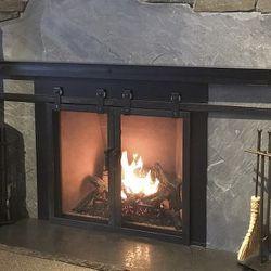 Barn Door Fireplace Glass Door