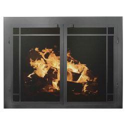 Elegant Masonry Fireplace Glass Door