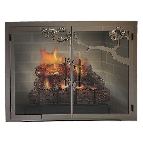 Oak Tree Masonry Fireplace Glass Door image number 0