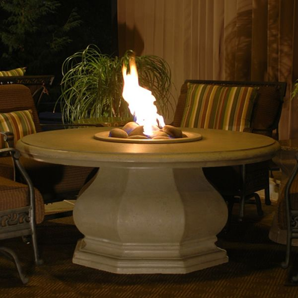 Octagon Chat Height Gas Fire Pit Table with Concrete Top image number 0