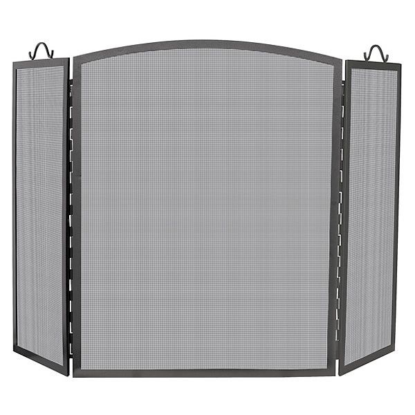 "Olde World Arched Triple Panel Iron Fireplace Screen - 56"" x 36"" image number 0"