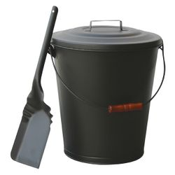 Olde World Iron Fireplace Ash Bin with Lid and Shovel