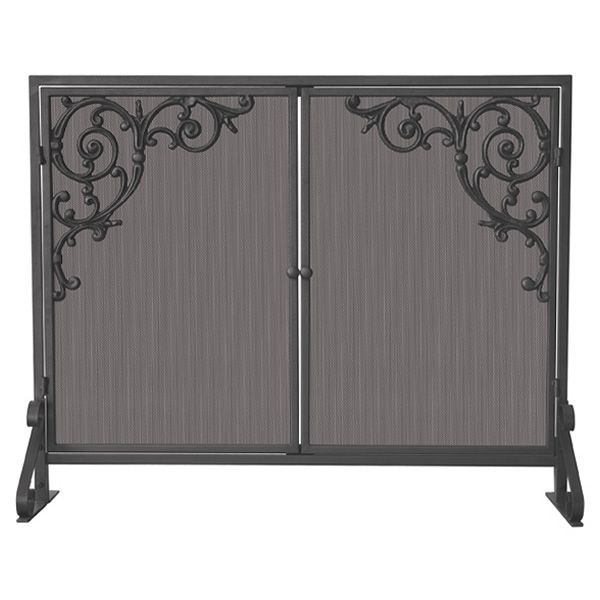 "Olde World Single Panel Iron Fireplace Screen with Scrolls - 39"" x 31"" image number 0"