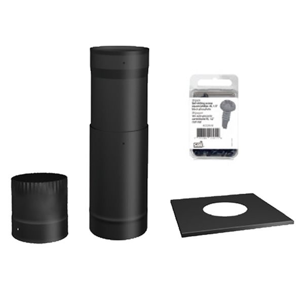 "Osburn To-The-Ceiling Black Chimney Pipe Kit - 6"" image number 0"