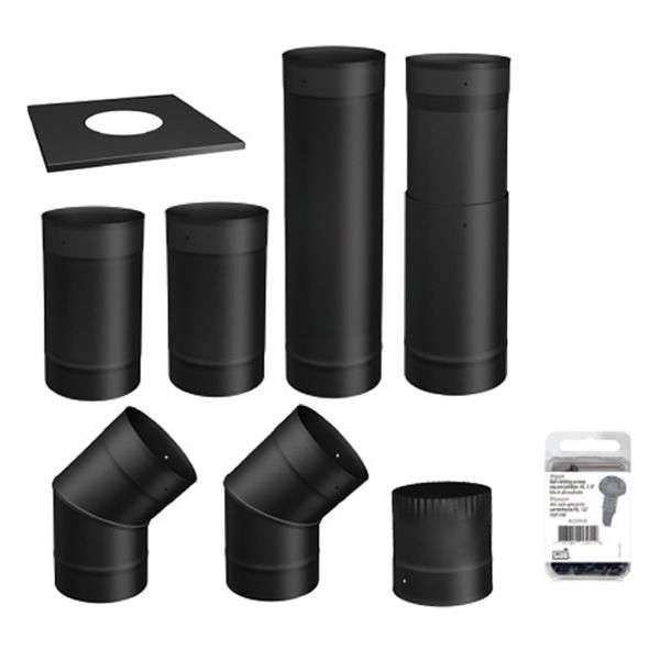 """Osburn To-The-Wall Black Chimney Pipe Kit - 6"""" image number 0"""