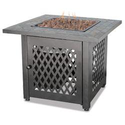 Uniflame Gas Fire Pit Table with Slate Tile Mantel - LP