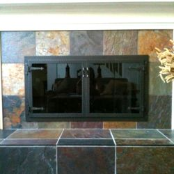 Hammered Edge Rectangle ZC Fireplace Door with Arch