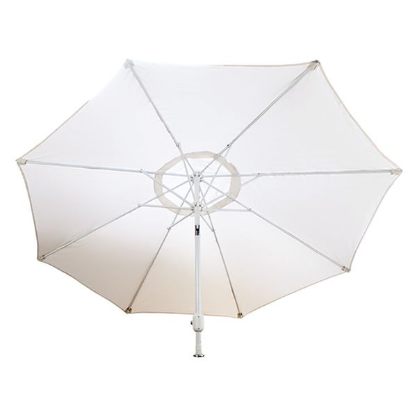 Lion 9' Natural Umbrella with White Aluminum Pole image number 0