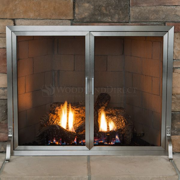 Lumino Stainless Steel Fireplace Screen with Doors image number 1