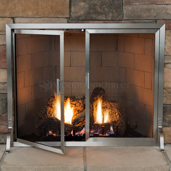 Lumino Stainless Steel Fireplace Screen with Doors image number 2