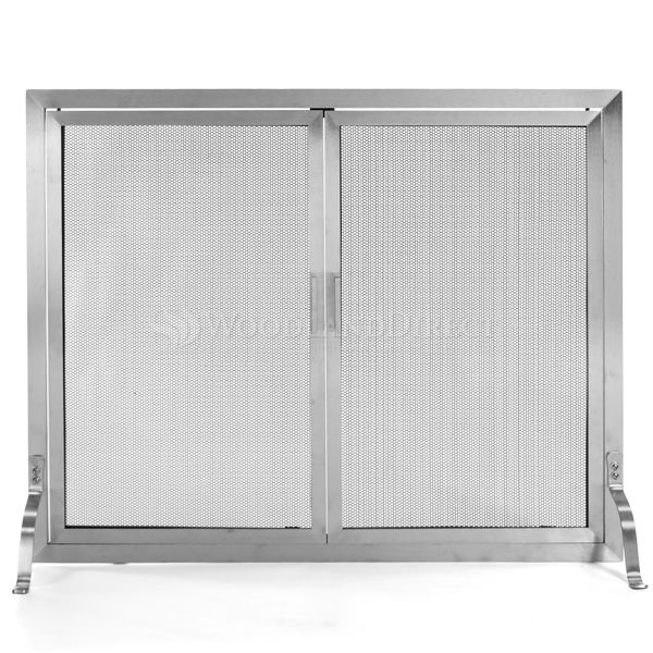 Lumino Stainless Steel Fireplace Screen with Doors image number 0