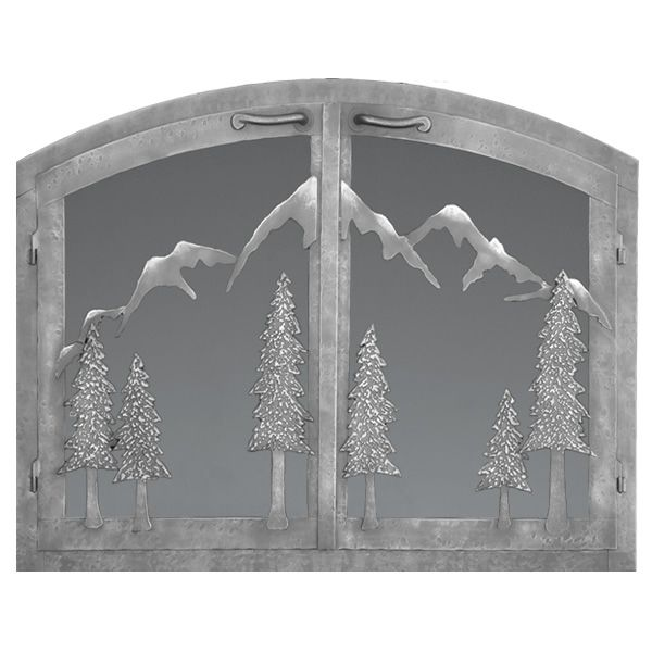 Mountain Arched Masonry Fireplace Doors image number 0