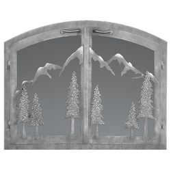 Mountain Arched Masonry Fireplace Doors