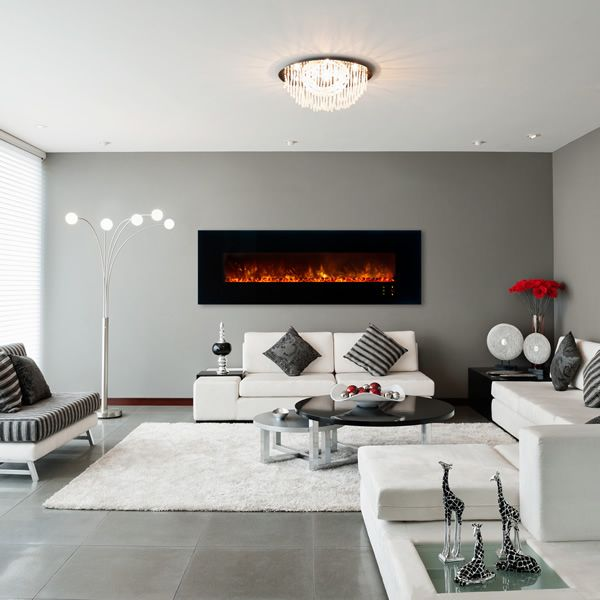 "Modern Flames 80"" Black Glass CLX2 Series Fireplace image number 0"