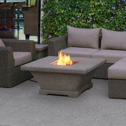 Monaco Square Chat Height Gas Fire Pit Table - Glacier Gray