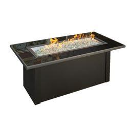Monte Carlo Crystal Gas Fire Pit Table with Black Glass Top