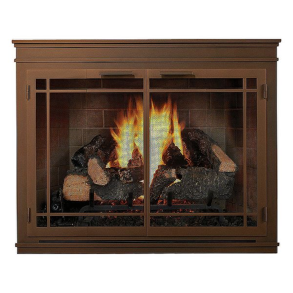 Mantel Masonry Fireplace Glass Door image number 0