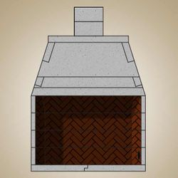 "49"" Pre-cast Masonry Firebox Kit with Liner and 24"" Chimney"