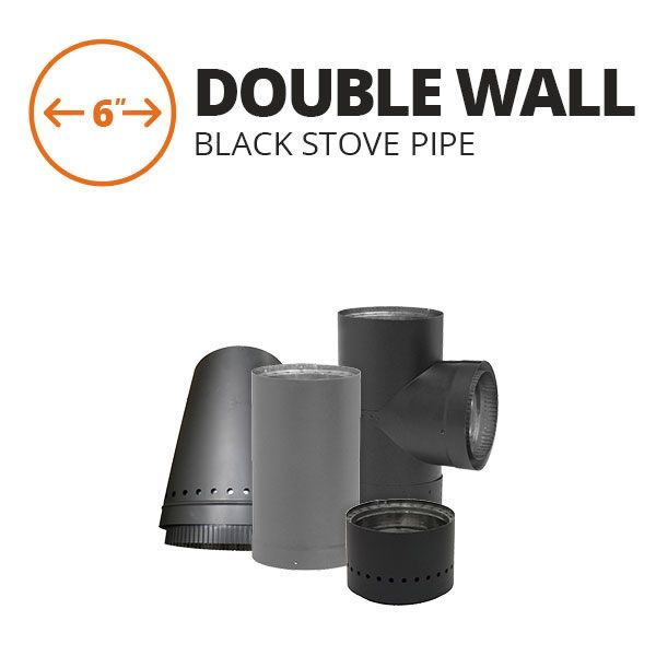 """6"""" Metal-Fab Double Wall Black Stove Pipe Components image number 0"""