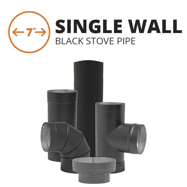 """7"""" Metal-Fab Single Wall Black Stove Pipe Components image number 0"""
