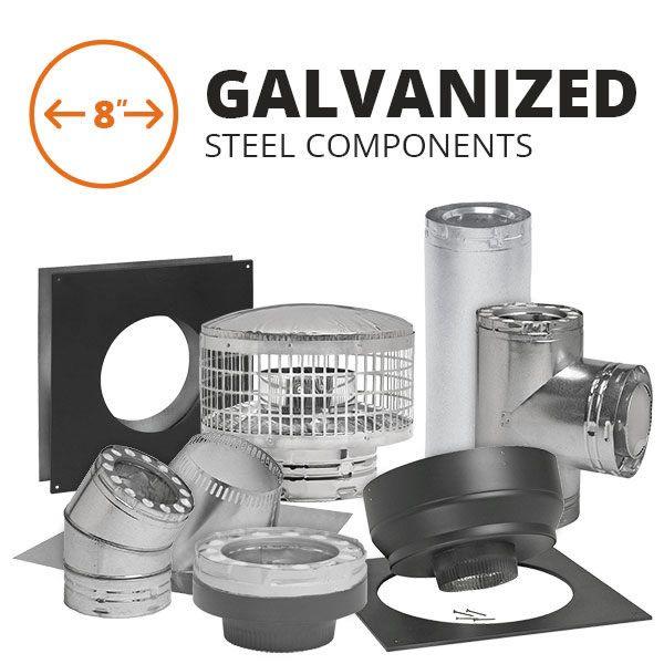 "8"" Metal-Fab Temp-Guard Galvanized Steel Chimney Pipe image number 0"