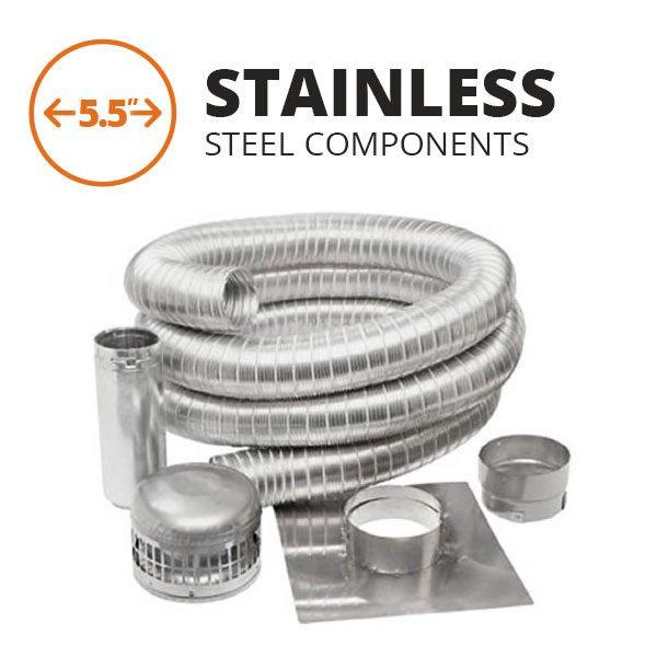 """Metal-Fab Stainless Steel Chimney Liner Kit - 5.5"""" Diameter image number 0"""