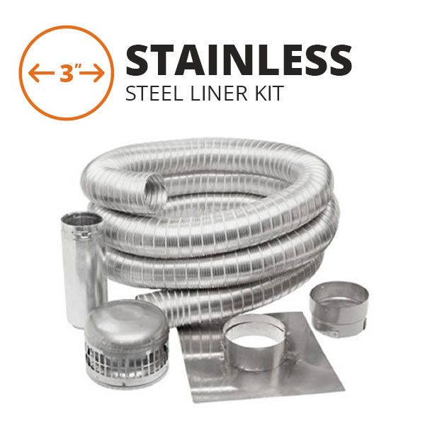 "Metal-Fab Stainless Steel Chimney Liner Kit - 3"" Diameter image number 0"
