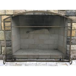 "Mission Forged Iron Arched Fireplace Screen 38""W x 32""H"