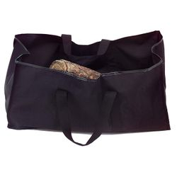 Black Canvas Tote Log Carrier with Tan Handles - Small