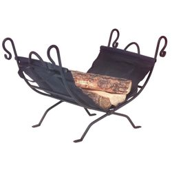 Hooked Wrought Iron Indoor Firewood Rack with Carrier