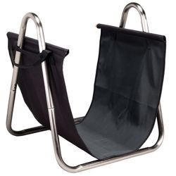 Indoor Firewood Rack with Black Canvas Carrier - Pewter