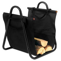 Indoor Firewood Rack with Black Canvas Carrier