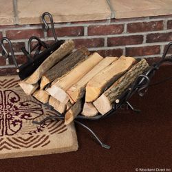 Natural Wrought Iron Indoor Firewood Rack with Carrier