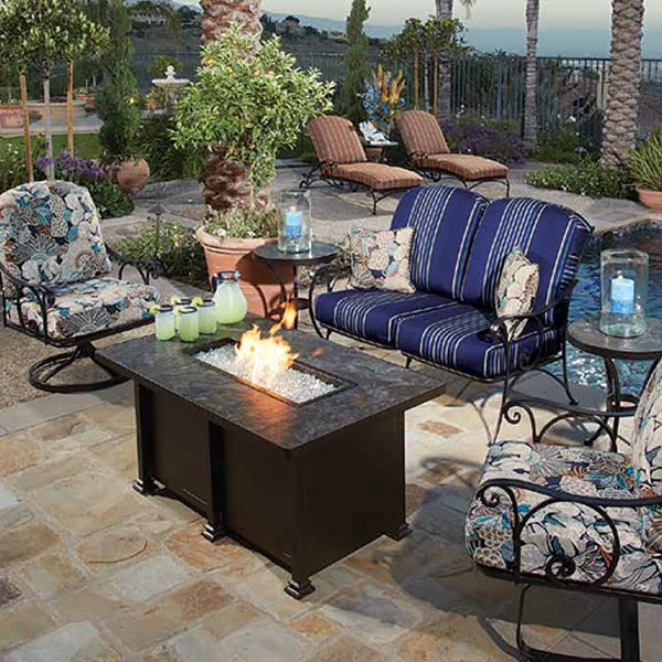 Santorini Chat Height Gas Fire Pit Table - Rectangular image number 2