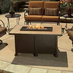 Santorini Chat Height Gas Fire Pit Table - Rectangular
