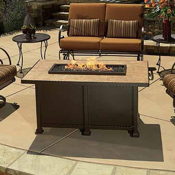Santorini Chat Height Gas Fire Pit Table - Rectangular image number 0