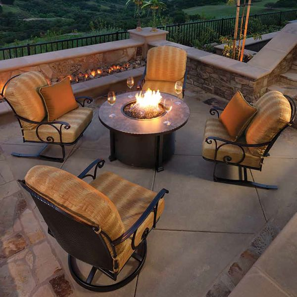 """Santorini Round Chat Height Gas Fire Pit Table - 42"""" image number 1"""