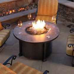 """Santorini Round Chat Height Gas Fire Pit Table - 42"""""""